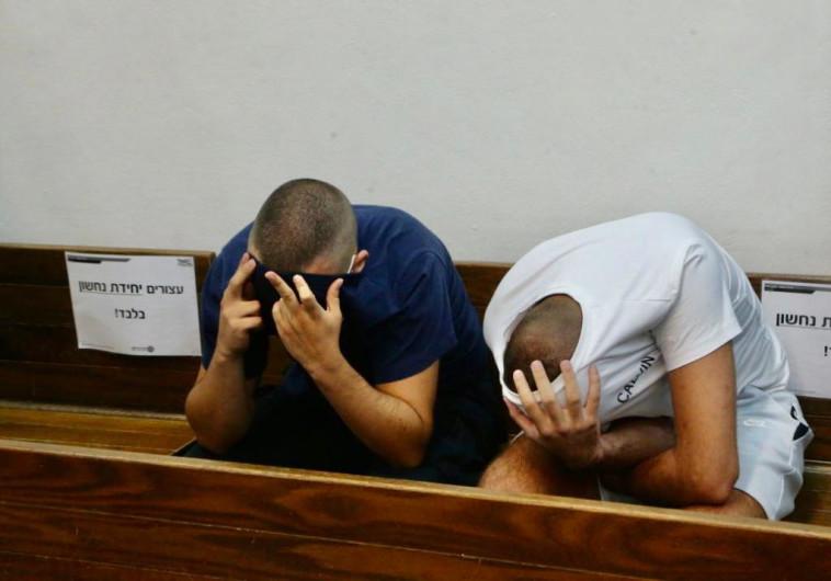 החשודים בתקיפת המפגינים בתל אביב (צילום: אבשלום שושני)
