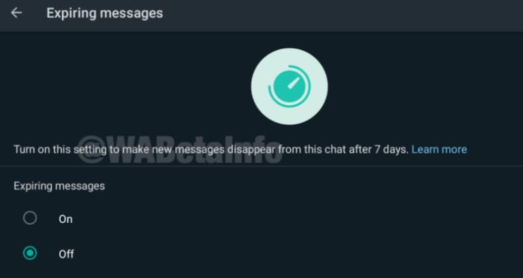 מחיקת הודעות אוטומטית (צילום: צילום מסך מתוך Wabetainfo)