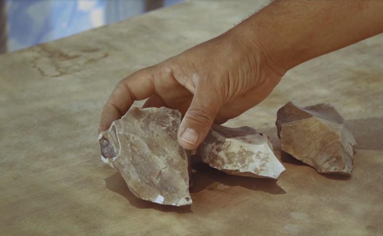 כלי הצור העתיקים שנמצאו סמוך לדימונה (צילום: אמיל אלג'ם, רשות העתיקות)
