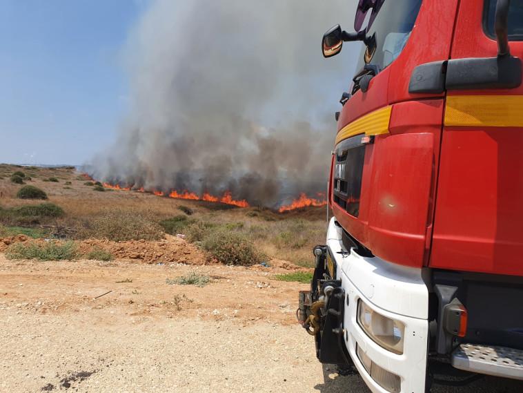 שריפה שפרצה בעוטף כתוצאה משיגור בלוני תבערה (צילום: דוברות כבאות והצלה מחוז דרום)