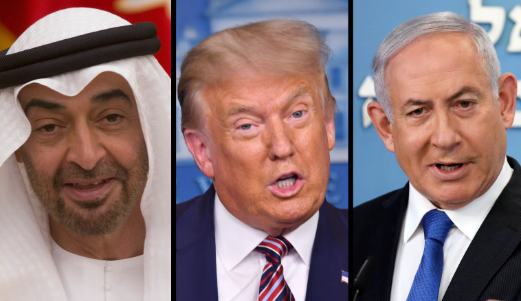 בנימין נתניהו, דונלד טראמפ, מוחמד בן זאיד (צילום: gettyimages,אביר סולטן, פול AFP)