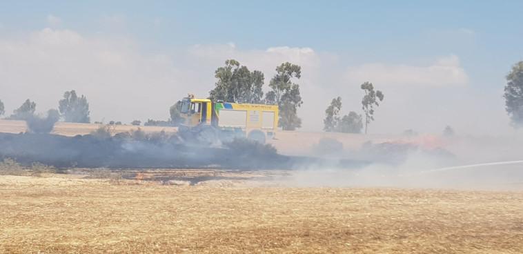 כיבוי שריפה שפרצה מבלון תבערה בעוטף עזה (צילום: משה ברוכי, קק''ל)