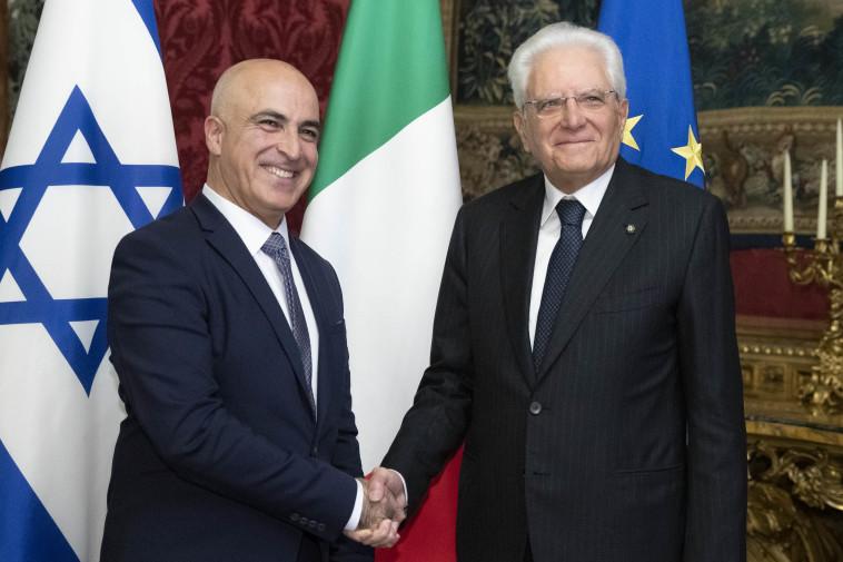 דרור אידר עם נשיא איטליה  (צילום: ארמון הנשיא)