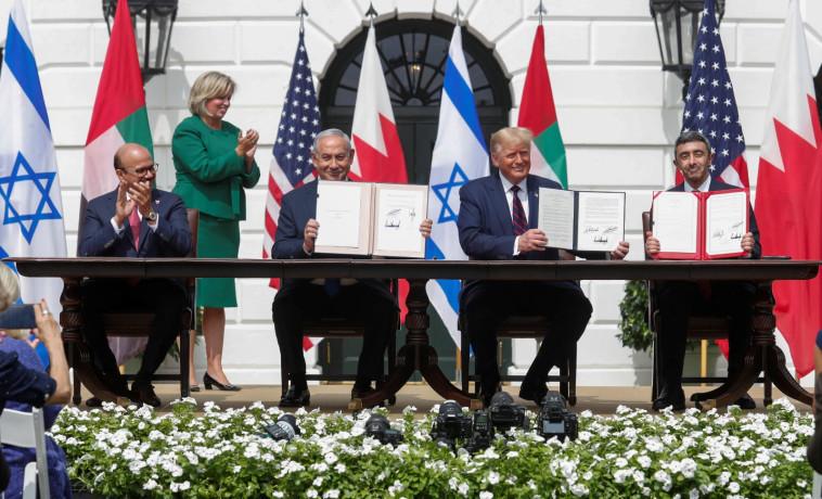 חתימת הסכם השלום בוושינגטון (צילום: רויטרס)