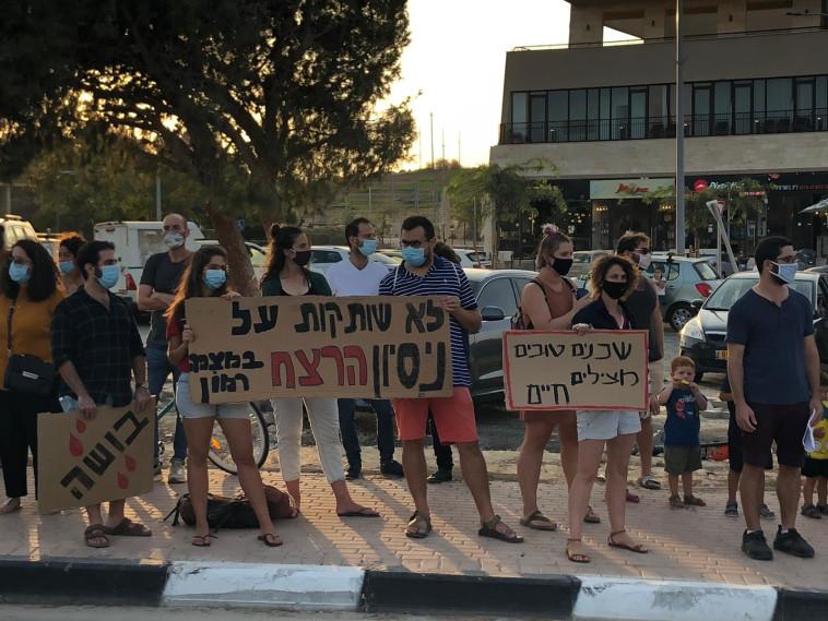 ההפגנה שהתקיימה אתמול במצפה רמון (צילום: דרור ישראל)