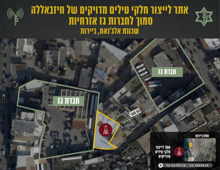קרבת חברות הגז לאתרי התחמושת של חיזבאללה (צילום: דובר צה''ל)