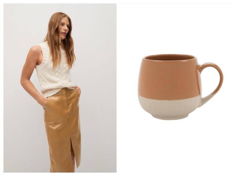 מאג עגול בצבעי שמנת וחמרה של FOX HOME, חצאית בצבע קפה של MANGO (צילום: טל טרי,יח''צ חו''ל)