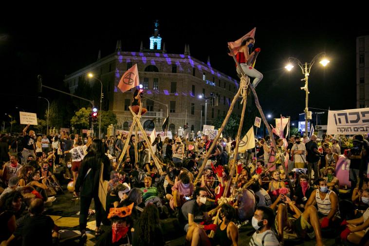 הפגנה נגד נתניהו בבלפור (צילום: אוליבייה פיטוסי, פלאש 90)