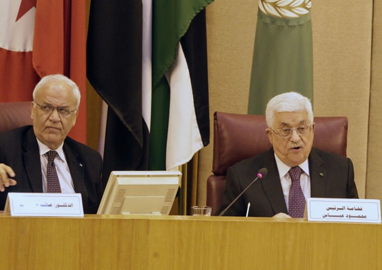 סאיב עריקאת ואבו מאזן (צילום:  REUTERS/Mohamed Abd El Ghany)