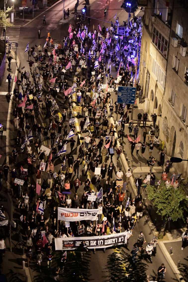 הפגנת מחאה נגד ראש הממשלה בנימין נתניהו בירושלים (צילום: שלום עכשיו)