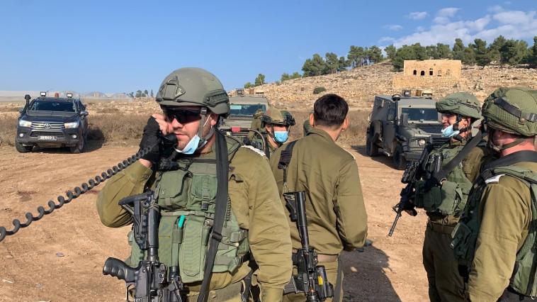 כוחות צה''ל שסיכלו את ניסיון פיגוע הדקירה סמוך לחברון (צילום: דובר צה''ל)