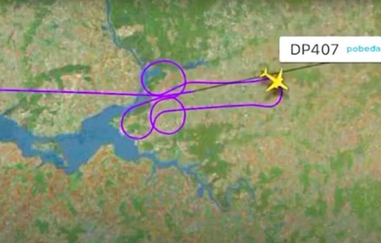 המסלול שביצעו הטייסים הרוסים בשמיים (צילום: FlightRadar Pobeda airline)