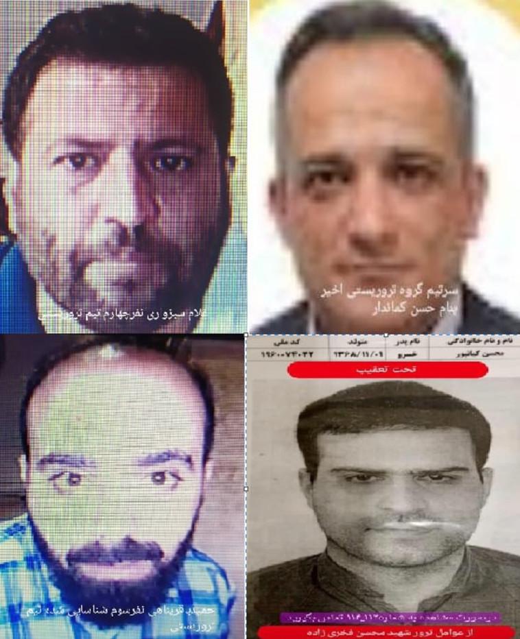 Photos des suspects dans l'assassinat de Fakhrizadeh (Photo: Réseaux sociaux en Iran)