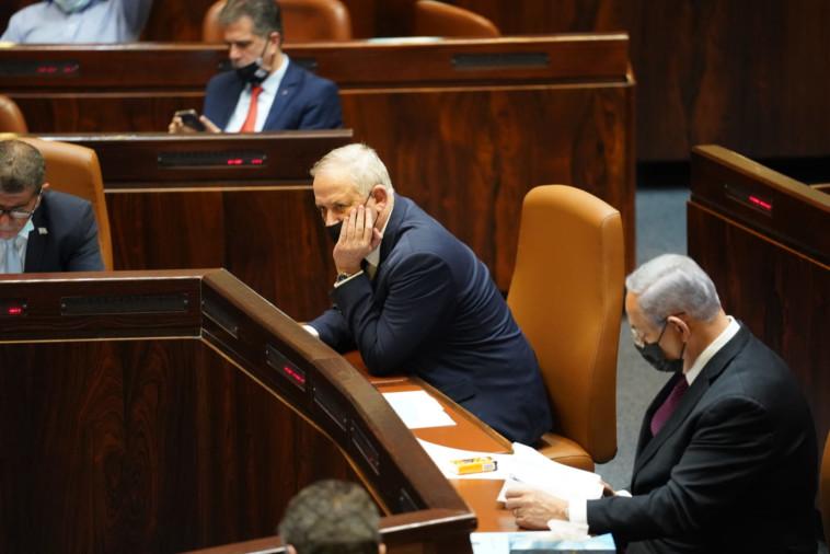 נתניהו וגנץ בהצבעה לפיזור הכנסת ה-23 (צילום: דוברות הכנסת, דני שם טוב)