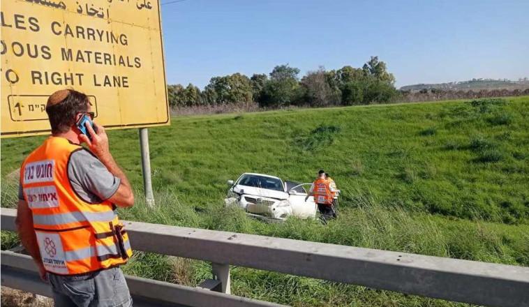 הרכב שהיה מעורב באירוע בכביש 6 (צילום: דוברות איחוד הצלה)