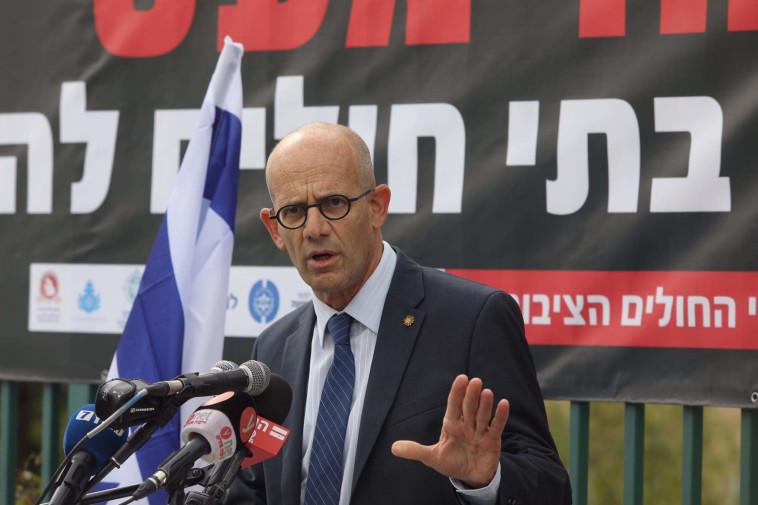 Shaare Zedek CEO Ofer Marin in protest of public hospitals (Photo: Mark Israel Salem)
