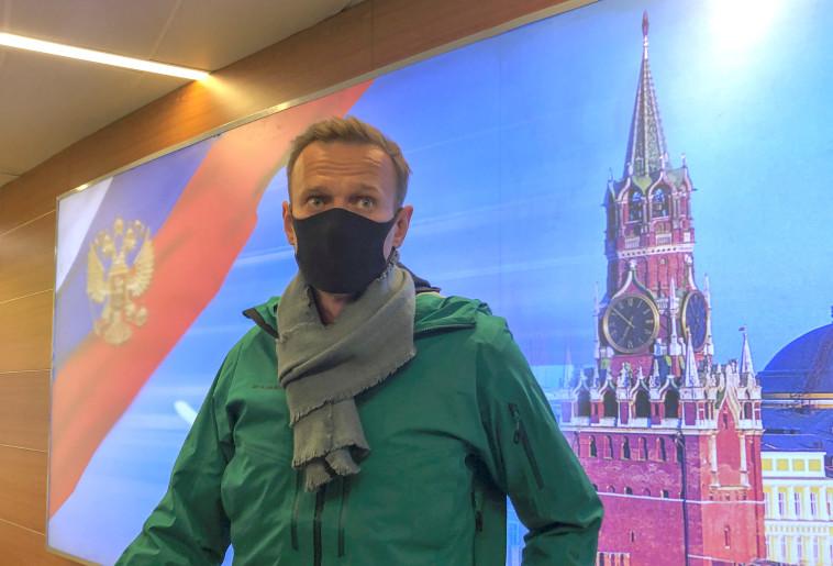 נבלני נוחת ברוסיה (צילום: רויטרס)