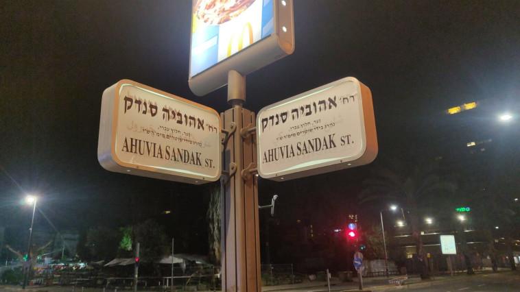 פעילי מחאה הדביקו על שלטי רחובות בתל אביב את שמו של אהוביה סנדק (צילום: דוברות המשטרה)