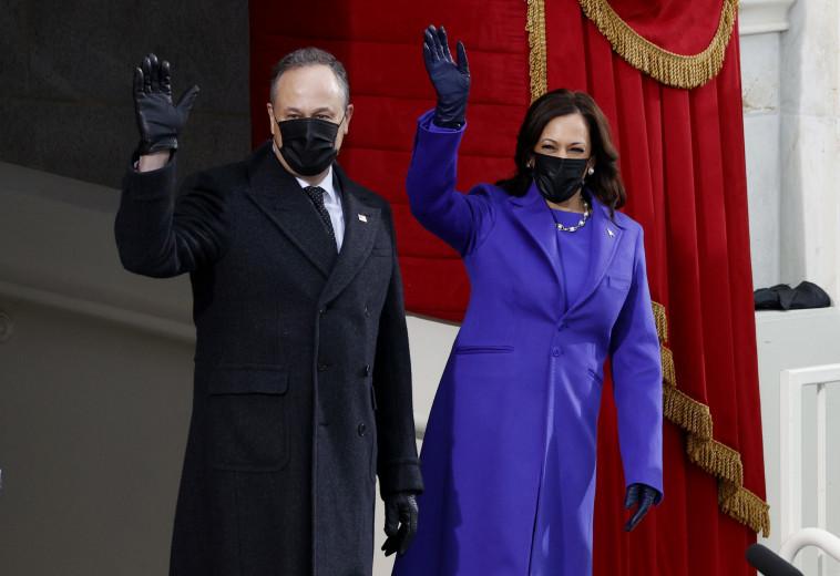 קמלה האריס בטקס ההשבעה (צילום: Reuters/BRENDAN MCDERMID)
