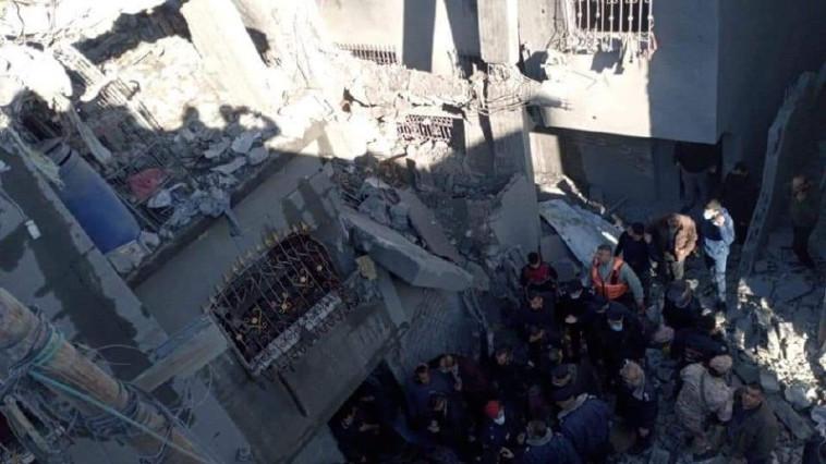 הפיצוץ בבית חאנון (צילום: רשתות ערביות)