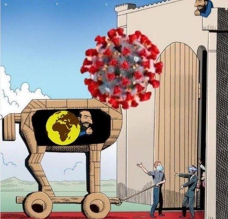 קריקטורה אנטישמית המאשימה את ישראל בהפצת הקורונה (צילום: רשתות חברתיות)