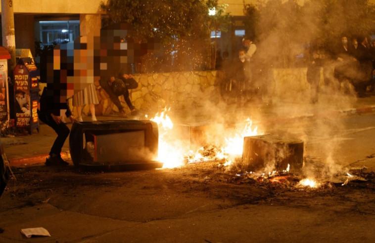 עימותים בין חרדים לשוטרים בבני ברק (צילום: דוברות המשטרה)