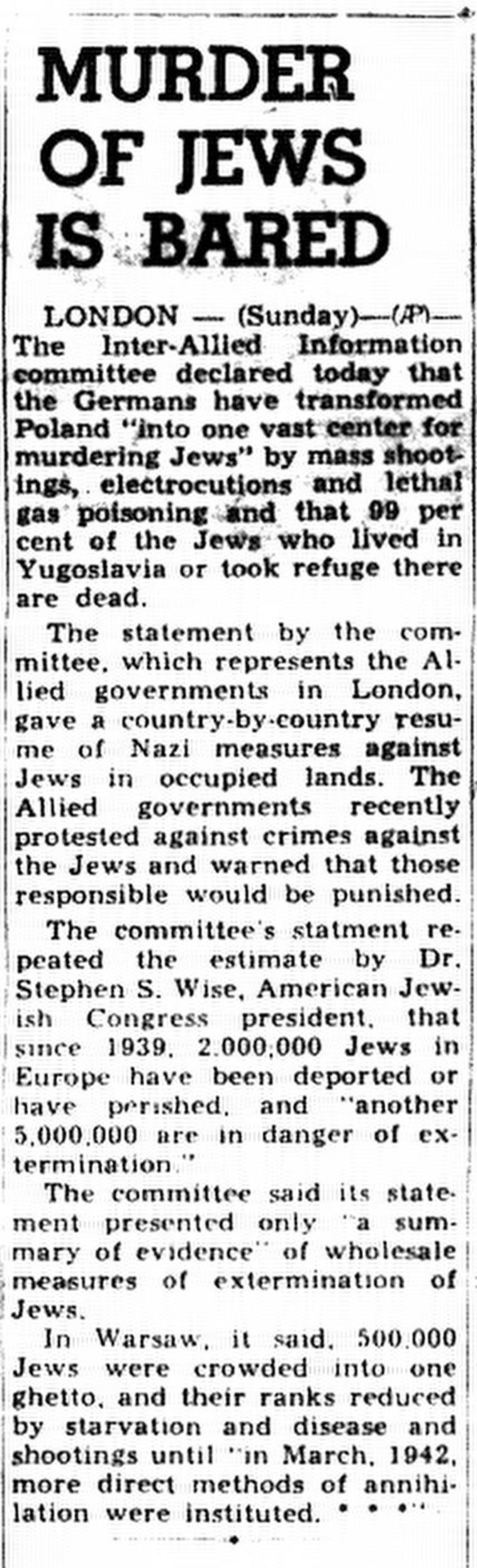 דיווח בעיתון במינסוטה, דצמבר 1942 (צילום: gettyimages)