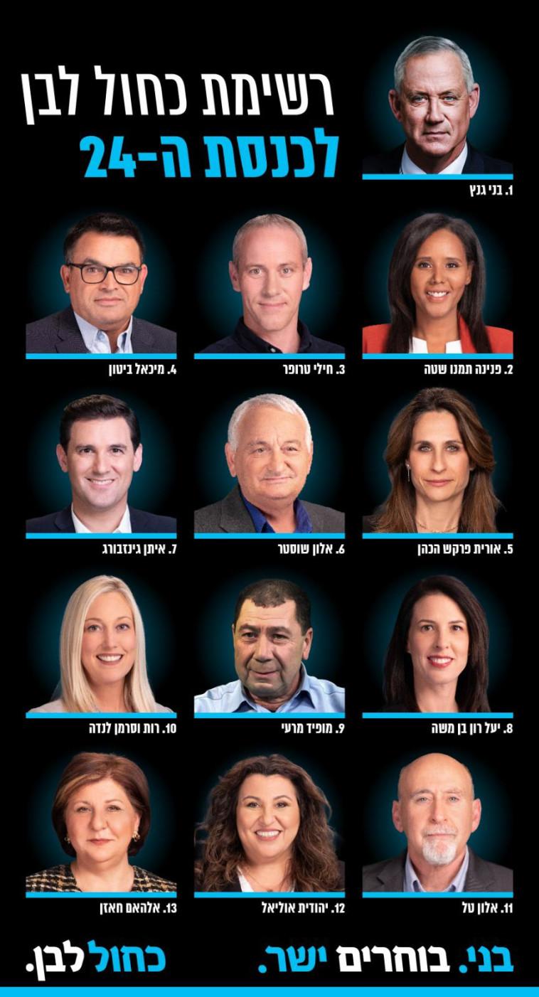 רשימת כחול לבן לבחירות לכנסת ה-24 (צילום: באדיבות כחול לבן)