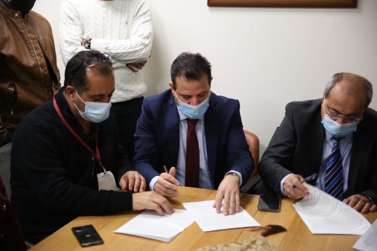 הרשימה המשותפת חתמה על הסכם הריצה המשותפת (צילום: באדיבות הרשימה המשותפת)