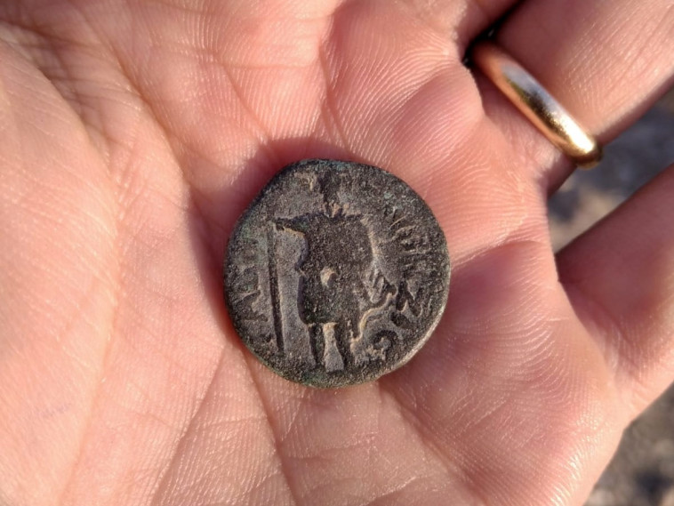 דמות האל על המטבע (צילום: ניר דיסטלפלד, רשות העתיקות)