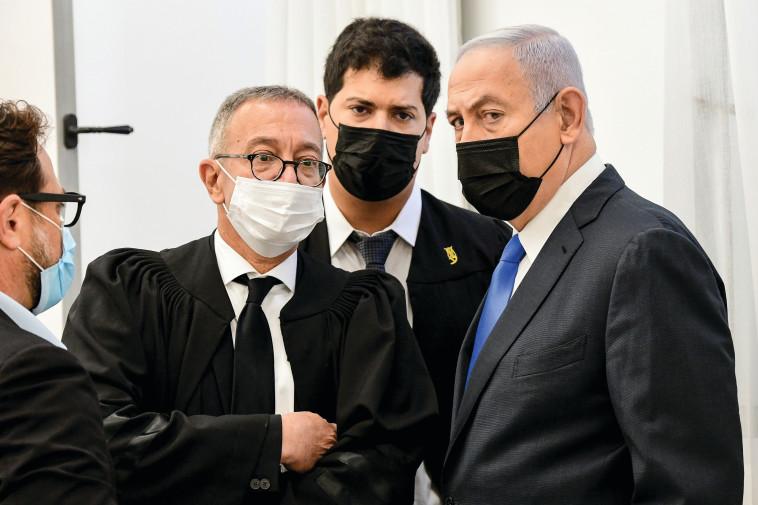 בנימין נתניהו בבית המשפט (צילום: ראובן קסטרו)
