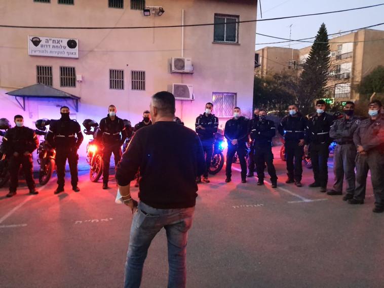 כוח המשימה המיוחד שהוקם לטיפול באלימות בבאר שבע (צילום: דוברות המשטרה)
