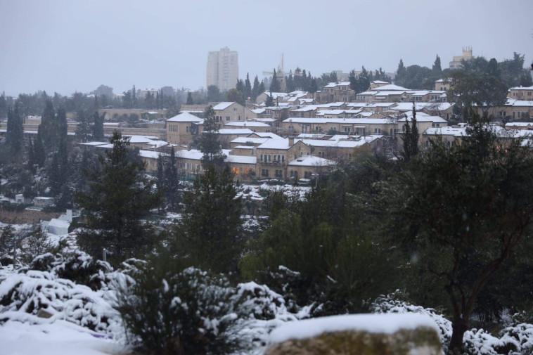 שלג בירושלים (צילום: מרק ישראל סלם)