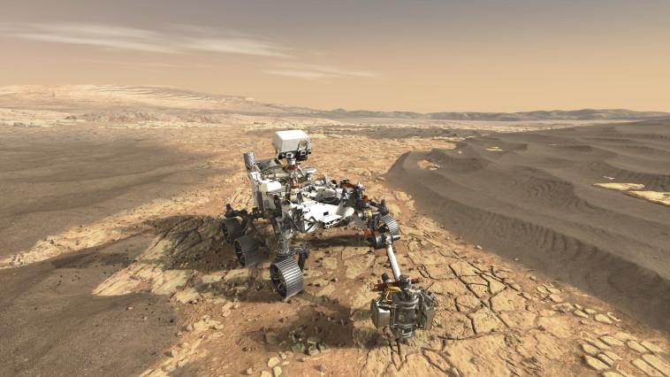 הדמייה של נחיתת הגשושית של נאס''א על מאדים (צילום: NASA/JPL-Caltech)