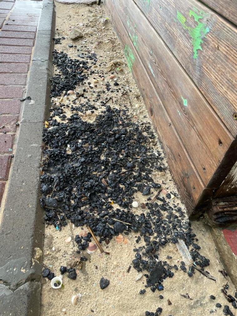 זיהום זפת בחוף ניצנים  (צילום: המשרד להגנת הסביבה,יצחק קודוביצקי)