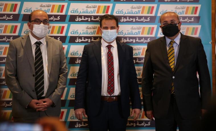 איימן עודה, אחמד טיבי, סאמי אבו שחאדה (צילום: תקשורת הרשימה המשותפת)