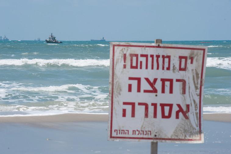 אזהרת זיהום בחוף בחיפה (צילום: דורון גולן, פלאש90)