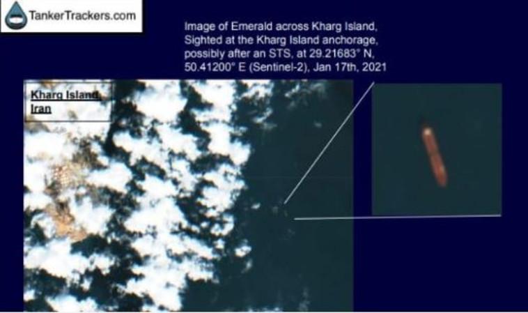 מסלול המיכלית החשודה בזיהום חופי הארץ, מול חופי חארג' (צילום: תמונות חברת ''TankerTrackers'')