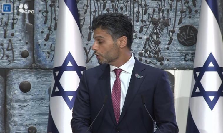 השגריר מוחמד אל-חאג'ה השבוע בבית הנשיא בירושלים (צילום: בית הנשיא)