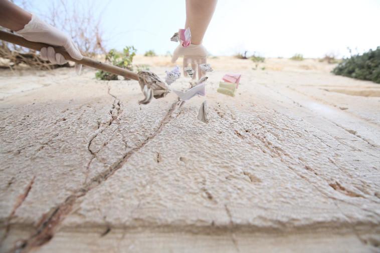 הוצאת הפתקים מאבני הכותל (צילום: הקרן למורשת הכותל)