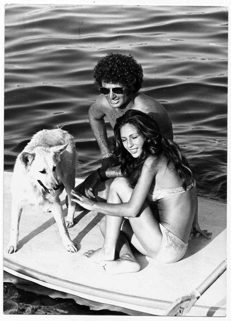 גיורא קליין המציל, עליזה הספרית והכלבה רוזי (צילום: פרטי)
