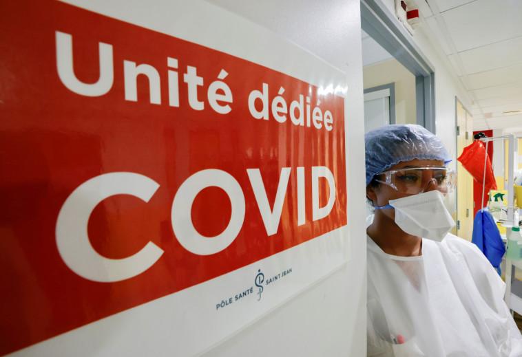 מחלקת קורונה בבית חולים בצרפת (צילום: REUTERS/Eric Gaillard)