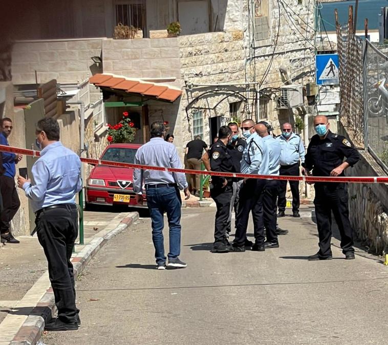 זירת הירי בחיפה (צילום: יואב איתיאל)