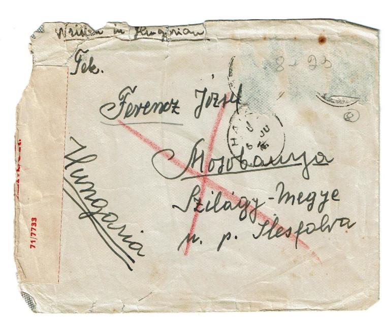 המעטפה בה נשלח מכתב הנמען (צילום: יוכבד פרנץ לביא)