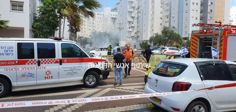 פיצוץ רכב בנתניה (צילום: אנשי הדממה בפייסבוק)