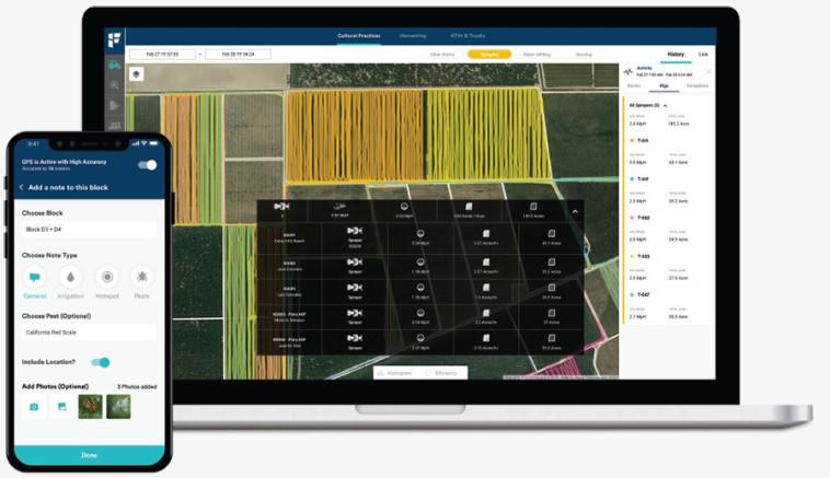 עבודה בשדה + האפליקציה של חברת פילדין (צילום: יח''צ)