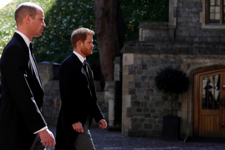 וויליאם והארי בהלווית הנסיך פיליפ (צילום: רויטרס)