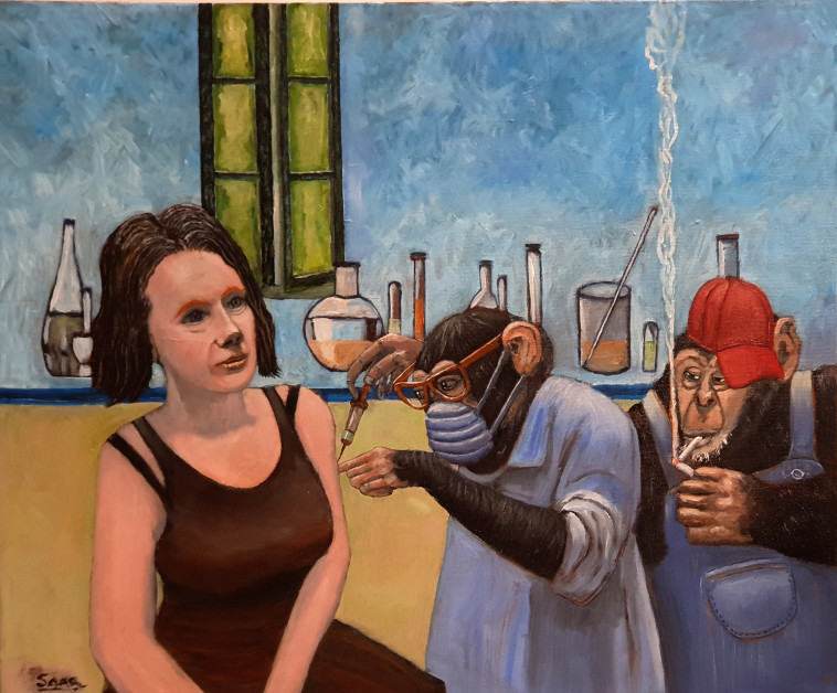 קורונה שלב ניסוי החיסון, ציור גדעון סער (צילום: פרטי)