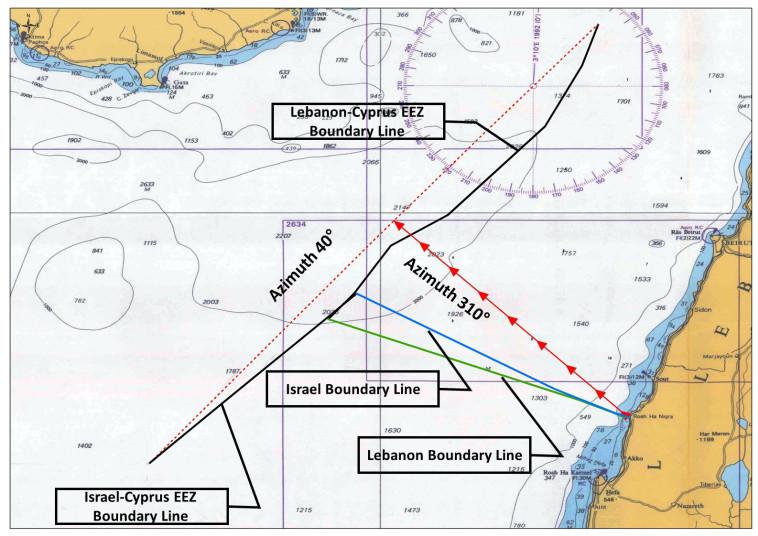 המפה שתציג ישראל אם לבנון תמשיך בדרישותיה המקסימליות במו''מ על הגבול הימי (צילום: ללא קרדיט)