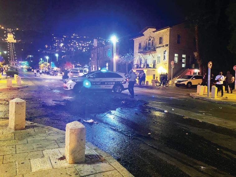 התפרעויות בחיפה (צילום: דוברות משטרת ישראל)